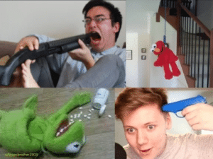 Different characters committing suicide Frog meme template