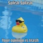 Splish Splash your Opinion is Trash Opinion meme template blank