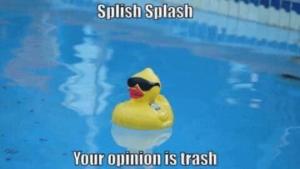 Splish Splash your Opinion is Trash Opinion meme template