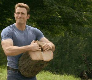 Captain America splitting wood Avengers meme template