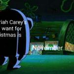 spongebob-memes spongebob text: Mar\ah Carey Chr\stçnas s you  spongebob