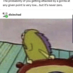 spongebob-memes spongebob text: e captainsnoop The probability of you getting attacked by a gorilla at any given point is very low... but it