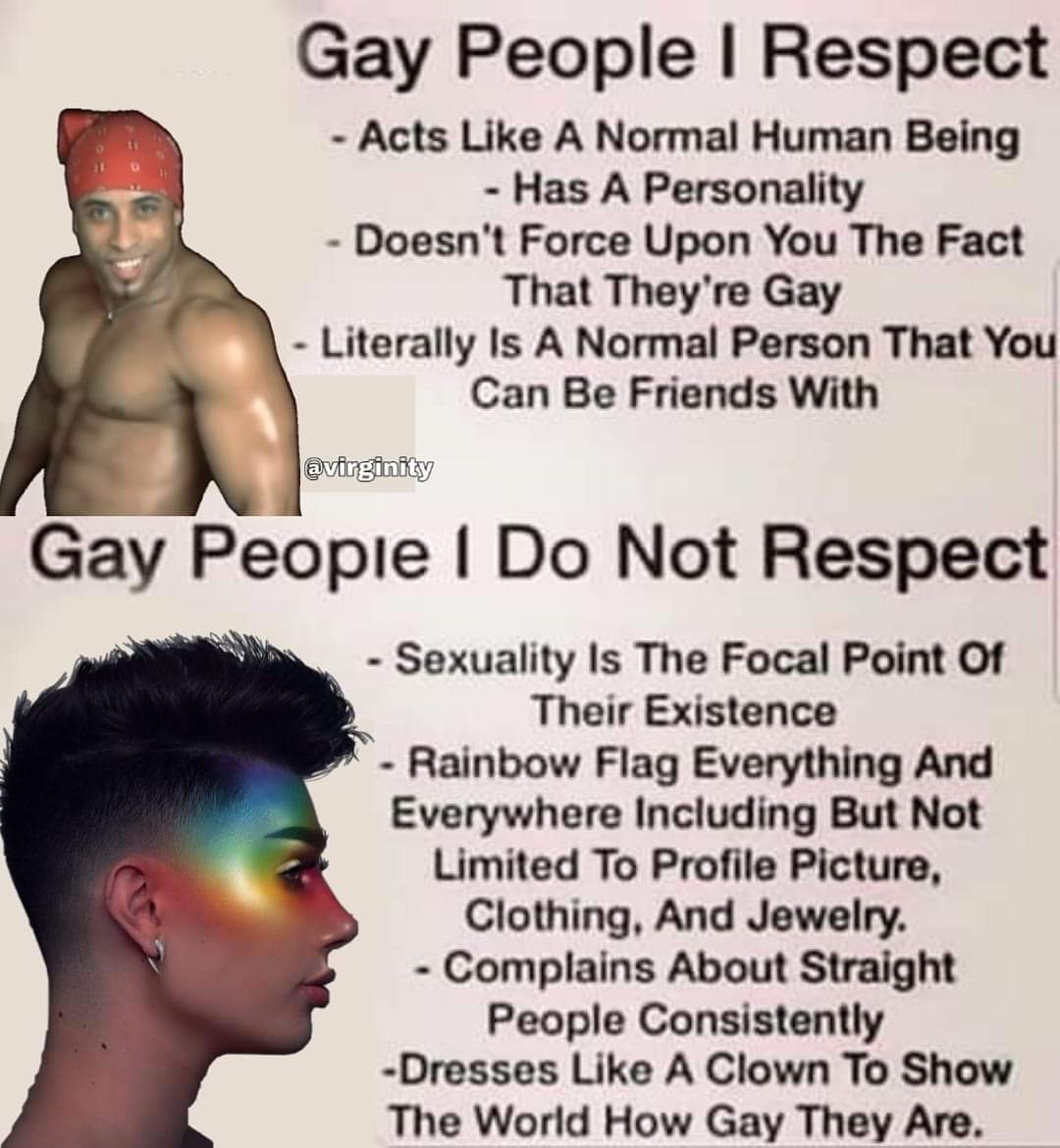 boomer-memes political text: Gay People I Respect - Acts Like A Normal Human Being - Has A Personality - Doesn't Force Upon You The Fact That They're Gay - Literally Is A Normal Person That You Can Be Friends With @virginity Gay People I Do Not Respect - Sexuality Is The Focal Point Of Their Existence - Rainbow Flag Everything And Everywhere Including But Not Limited To Profile Picture, Clothing. And Jewelry. - Complains About Straight People Consistently -Dresses Like A Clown To Show The World How Gay They Are.