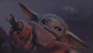 Baby Yoda Sad, Reaching Mandalorian meme template