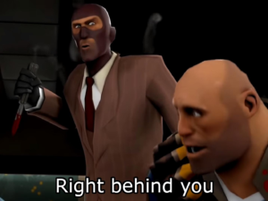 """Spy """"Right behind you"""" Stabbing meme template"""