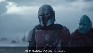 """Mandalorian """"No droids"""" Droid meme template"""