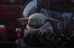 Baby Yoda using force eyes closed Baby Yoda meme template