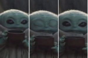 Baby Yoda drinking soup and looking at camera Mandalorian meme template