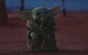 Baby Yoda Eating Frog Food meme template