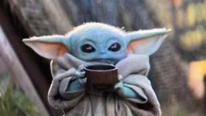 Baby Yoda Drinking Soup Mandalorian meme template