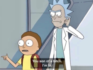 "Morty ""You son of a bitch. Im in"" Rick and Morty meme template"