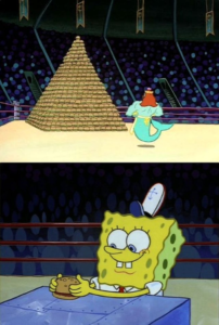 Spongebob vs. Neptune with burgers Food meme template