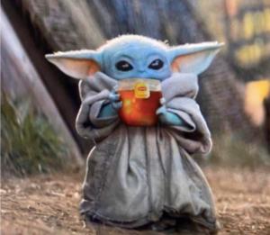 Baby Yoda Drinking Tea Food meme template