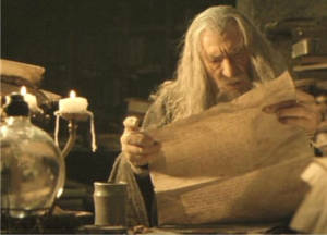 Gandalf Reading, Confused LOTR meme template