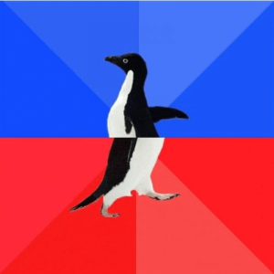 Awkward Awesome Penguin Classic meme template
