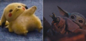 Pikachu and Baby Yoda Reaching for Each Other Chimera meme template