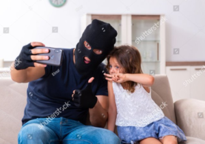 Girl taking selfie with robber Stock Photo meme template