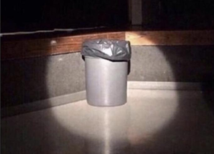 Spotlight on trash can Sad meme template