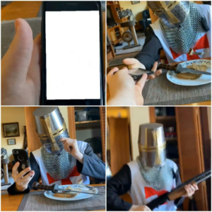 Crusader Looking at Phone Crusader meme template