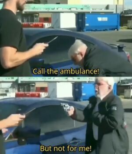 Call the ambulance but not for me Gun meme template