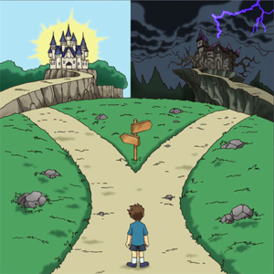 Kid looking at two paths Walking meme template