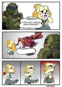 Isabelle and Doom Guy Comic Gun meme template