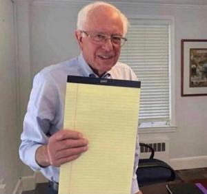 Bernie Sanders holding notebook (blank) Opinion meme template