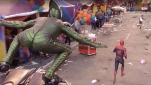 Green Goblin chasing Spiderman Lying meme template