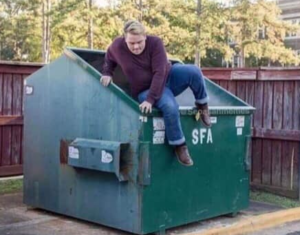Man climbing out of dumpster Opinion meme template