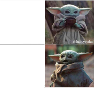 Calm vs. Scared Yoda Drake template Mandalorian meme template