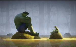 Hulk Talking to Kermit Frog meme template