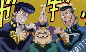Three anime characters shaking hands Opinion meme template