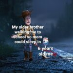 wholesome-memes cute text: My oldepbrother walkikghe to om could slee in 6 y ars ol@e  Wholesome, Cute, Family, Forky, Toy Story, Woody
