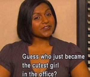 Guess who just became the cutest girl in the office? Excited meme template
