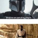 Obi-wan vs Mandalorian Prequel meme template blank  Prequel, Vs, Star Wars, Mandalorian, Guns, Religion, Opinion