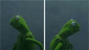 Kermit looking both ways Frog meme template
