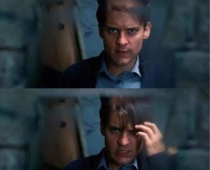 Peter Parker becoming emo Face meme template