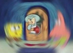 Blurred Squidward yelling at Spongebob and Patrick Radial Blur meme template
