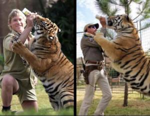Joe Exotic vs. Steve Irwin Stranger Things meme template