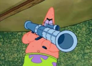 Patrick with rocket launcher Gun meme template