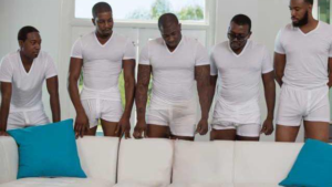 Five black men and empty couch NSFW meme template