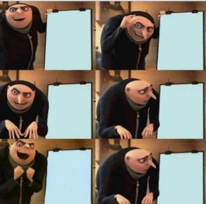 Gru failed presentation. 6 slides. Pixar meme template