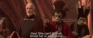 She cant do that. Shoot her or something Gun meme template