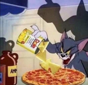 Tom Cat putting pineapple on Pizza Food meme template