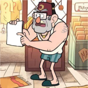 Stan holding note, pointing to it Holding Sign meme template