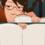 Anime girl holding book Anime meme template blank  Anime, Book, Holding, Cute, Schoolgirl, Glasses