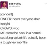 depression memes Depression,  text: Bob Vulfov @bobvulfov [concert] SINGER: hows everyone doin tonight CROWD: woo ME (from the back in a normal speaking voice): it