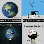 cringe memes Cringe, NASA, Earth, South Pole, Facebook, Atlas text: Step 1: Go to Southpole Step 2: Do a handstand Now you