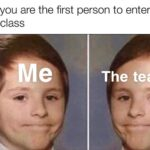 other memes Funny, Good, English, Linus, No text: When you are the first person to enter the online class The teacher  Funny, Good, English, Linus, No