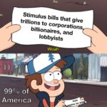 Political Memes Political, Money, PPE, HEROES, CARES Act, Blue text: Stimulus bills that give trillions to corporations billionaires, and lobbyists Woah. of 00 America This is w@Fthless!  Political, Money, PPE, HEROES, CARES Act, Blue